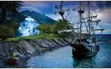 Fotobehang Vlies | Boot, Natuur | Blauw | 254x184cm