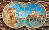 Fotobehang Vlies | Venetië, Muur | Blauw | 254x184cm