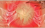 Fotobehang Vlies | Bloemen | Rood | 254x184cm