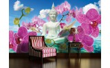 Fotobehang Vlies | Boeddha, Orchidee | Blauw | 254x184cm