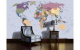 Fotobehang Vlies | Wereldkaart | Blauw | 254x184cm
