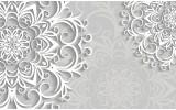 Fotobehang Vlies   Bloemen   Wit, Grijs   254x184cm