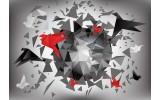 Fotobehang Vlies | 3D, Origami | Rood | 254x184cm