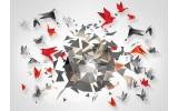 Fotobehang Vlies | 3D, Origami | Grijs | 254x184cm