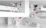 Fotobehang Vlies   3D, Origami   Wit   254x184cm