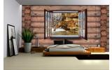 Fotobehang Vlies   Hout, Tijger   Bruin   254x184cm