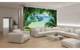 Fotobehang Vlies | Strand, Zee | Groen, Blauw | 254x184cm