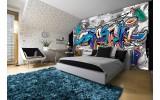 Fotobehang Vlies | Graffiti | Grijs, Blauw | 254x184cm