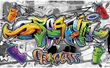 Fotobehang Vlies   Graffiti   Grijs, Geel   254x184cm