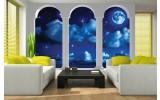 Fotobehang Vlies | Nacht, Modern | Blauw | 254x184cm