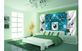Fotobehang Vlies   Modern, Slaapkamer   Zilver, Turquoise   254x184cm