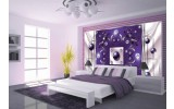 Fotobehang Vlies | Modern, Slaapkamer | Paars, Zilver | 254x184cm