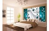Fotobehang Vlies | Modern, Slaapkamer | Zilver, Turquoise | 254x184cm