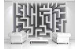 Fotobehang Vlies | Design, Doolhof | Grijs | 254x184cm