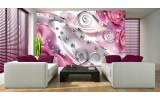 Fotobehang Vlies   Design, Rozen   Zilver, Roze   254x184cm