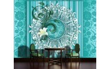 Fotobehang Vlies | Bloem, Modern | Turquoise | 254x184cm