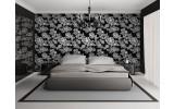 Fotobehang Vlies | Bloemen, Slaapkamer | Zwart, Wit | 254x184cm