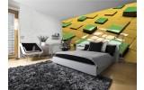 Fotobehang Vlies | 3D | Geel, Groen | 254x184cm