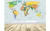 Fotobehang Vlies | Wereldkaart | Geel, Blauw | 254x184cm
