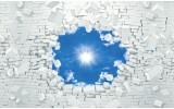 Fotobehang Vlies | Muur, Zon | Blauw | 254x184cm