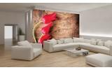 Fotobehang Vlies | Bloemen, Hout | Rood | 254x184cm