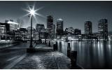 Fotobehang Vlies   Skyline, Stad   Zwart, Grijs   254x184cm
