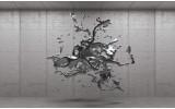 Fotobehang Vlies | 3D, Design | Grijs, Zilver | 254x184cm