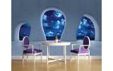 Fotobehang Vlies | Modern, Nacht | Blauw | 254x184cm