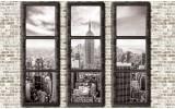 Fotobehang Vlies   Skyline, Muur   Grijs   254x184cm