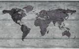 Fotobehang Vlies | Wereldkaart, Hout | Grijs | 254x184cm