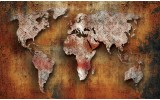 Fotobehang Vlies | Wereldkaart | Bruin, Oranje | 254x184cm