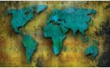 Fotobehang Vlies | Wereldkaart | Turquoise, Groen | 254x184cm