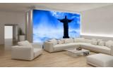 Fotobehang Vlies | Brazilië, Jezus | Blauw, Zwart | 254x184cm