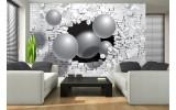 Fotobehang Vlies | 3D, Muur | Zilver | 254x184cm