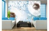 Fotobehang Vlies | Paardenbloem | Blauw, Wit | 254x184cm