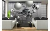 Fotobehang Vlies | Abstract, 3D | Zilver | 254x184cm