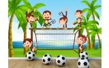 Fotobehang Vlies | Aapjes, Voetbal | Groen | 254x184cm