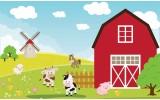 Fotobehang Vlies | Kinderboerderij | Rood, Groen | 254x184cm