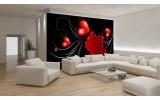 Fotobehang Vlies | Roos, Hart | Zwart, Rood | 254x184cm
