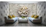 Fotobehang Vlies | 3D, Muur | Geel, Crème | 254x184cm
