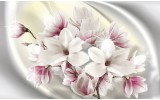 Fotobehang Vlies | Magnolia, Bloemen | Zilver | 254x184cm