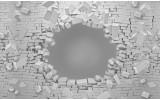 Fotobehang Vlies   Muur, 3D   Grijs   254x184cm
