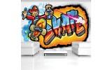 Fotobehang Vlies | Graffiti | Blauw, Oranje | 254x184cm