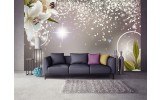 Fotobehang Vlies | Lelie, Modern | Zilver | 254x184cm