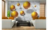 Fotobehang Vlies | 3D | Goud, Grijs | 254x184cm