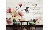 Fotobehang Vlies | Magnolia, Hout | Crème | 254x184cm