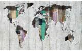 Fotobehang Vlies | Wereldkaart | Grijs, Groen | 254x184cm
