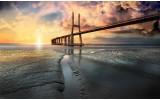 Fotobehang Vlies | Brug, Zee | Geel | 254x184cm