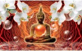 Fotobehang Vlies | Boeddha, Orchidee | Oranje | 254x184cm