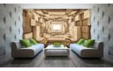 Fotobehang Vlies | 3D, Hout | Bruin | 254x184cm